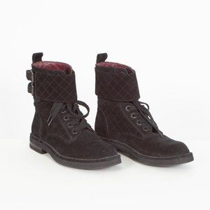 Chanel Suede Calfskin Quilted Combat Short Boots